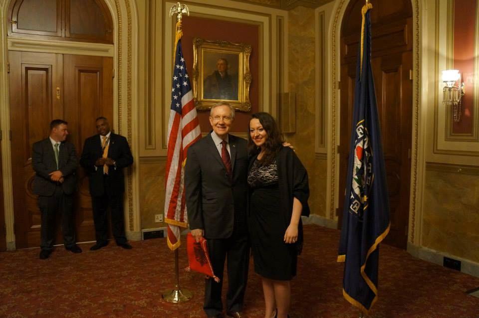 Ermira Babamusta with Senator Harry Reid, Washington DC, 2013