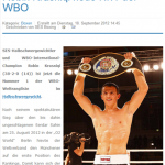 Kosovo born boxer Haxhi (Robin) Krasniqi, Nr. 1 in the WBO version