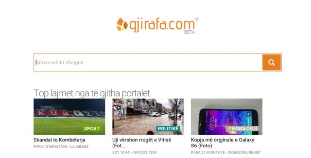 A snapshot of www.gjirafa.com