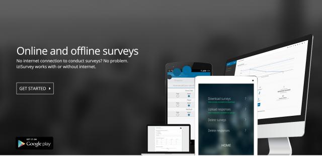 A snapshot of the www.iziSurvey.com application website.
