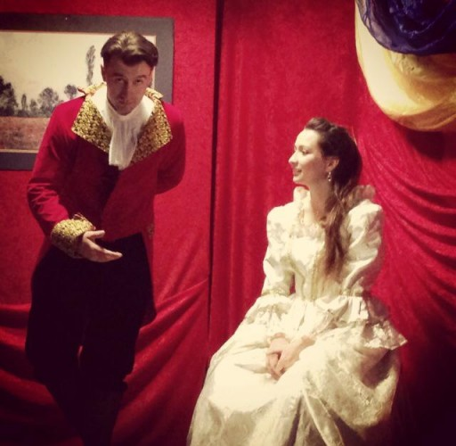 "Actor Klement Tinaj and Cristy Fuentevilla in the theatre play ""Amadeus"""