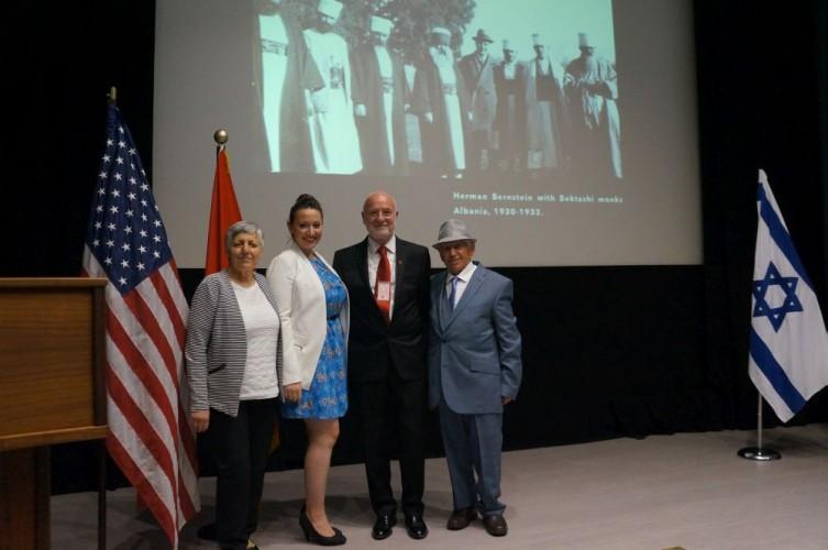 Ambassador Mal Berisha with Jewish rescuer and witness Neki Babamusta, Suzana and Ermira Babamusta, American Embassy in London